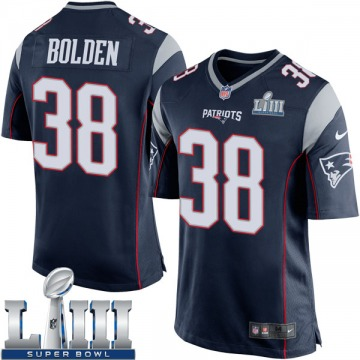 Youth Nike New England Patriots Brandon Bolden Navy Blue Team Color Super Bowl LIII Jersey - Game