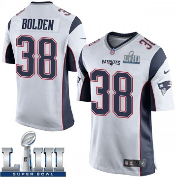 Youth Nike New England Patriots Brandon Bolden White Super Bowl LIII Jersey - Game
