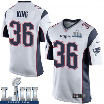 Youth Nike New England Patriots Brandon King White Super Bowl LIII Jersey - Game