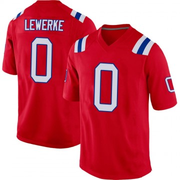 Youth Nike New England Patriots Brian Lewerke Red Alternate Jersey - Game