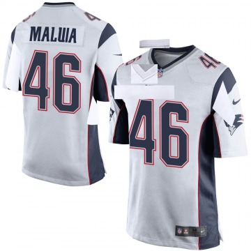 Youth Nike New England Patriots Cassh Maluia White Jersey - Game