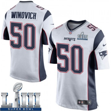 Youth Nike New England Patriots Chase Winovich White Super Bowl LIII Jersey - Game
