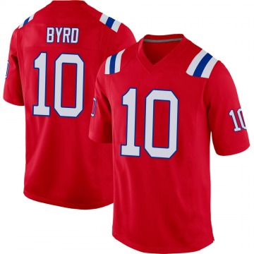Youth Nike New England Patriots Damiere Byrd Red Alternate Jersey - Game