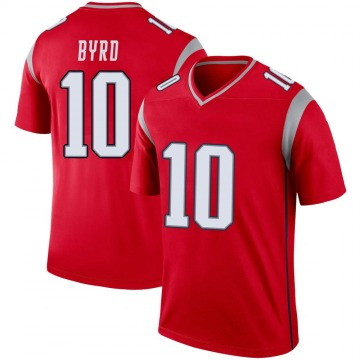 Youth Nike New England Patriots Damiere Byrd Red Inverted Jersey - Legend