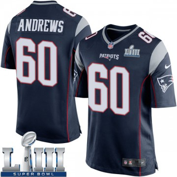 Youth Nike New England Patriots David Andrews Navy Blue Team Color Super Bowl LIII Jersey - Game