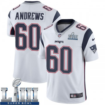 Youth Nike New England Patriots David Andrews White Super Bowl LIII Vapor Untouchable Jersey - Limited