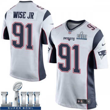 Youth Nike New England Patriots Deatrich Wise Jr. White Super Bowl LIII Jersey - Game