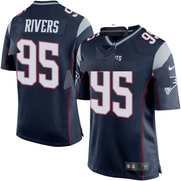 Youth Nike New England Patriots Derek Rivers Navy Blue Team Color Jersey - Game