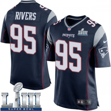 Youth Nike New England Patriots Derek Rivers Navy Blue Team Color Super Bowl LIII Jersey - Game