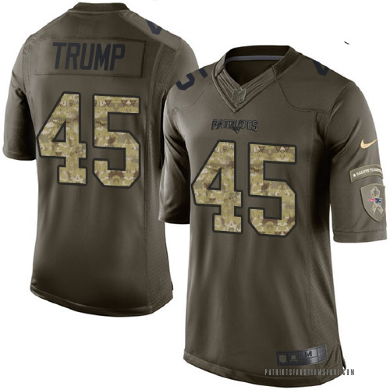 hot sale online 10aaa 1b3d7 Youth Nike New England Patriots Donald Trump Green Salute to Service Jersey  - Limited