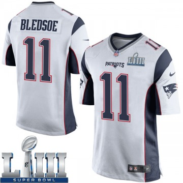 Youth Nike New England Patriots Drew Bledsoe White Super Bowl LIII Jersey - Game