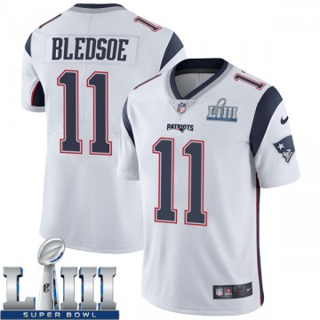 Youth Nike New England Patriots Drew Bledsoe White Super Bowl LIII Vapor Untouchable Jersey - Limited