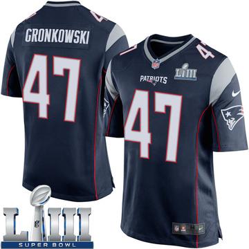 Youth Nike New England Patriots Glenn Gronkowski Navy Blue Team Color Super Bowl LIII Jersey - Game