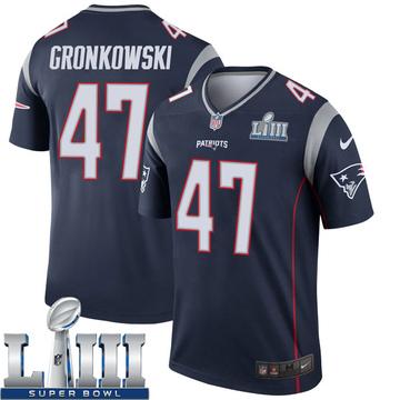 Youth Nike New England Patriots Glenn Gronkowski Navy Super Bowl LIII Jersey - Legend