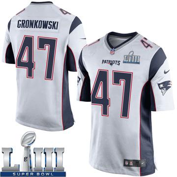 Youth Nike New England Patriots Glenn Gronkowski White Super Bowl LIII Jersey - Game