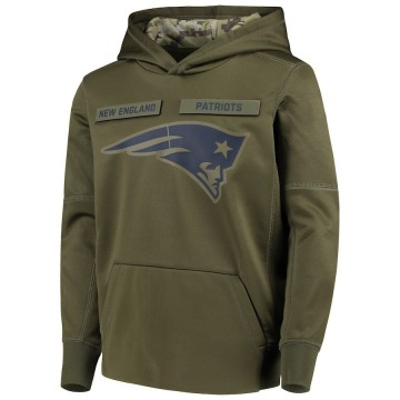 Youth Nike New England Patriots Green 2018 Salute to Service Pullover Performance Hoodie -