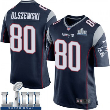 Youth Nike New England Patriots Gunner Olszewski Navy Blue Team Color Super Bowl LIII Jersey - Game