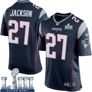 Youth Nike New England Patriots J.C. Jackson Navy Blue Team Color Super Bowl LIII Jersey - Game