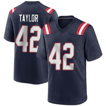 Youth Nike New England Patriots J.J. Taylor Navy Blue Team Color Jersey - Game