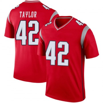 Youth Nike New England Patriots J.J. Taylor Red Inverted Jersey - Legend