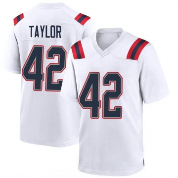 Youth Nike New England Patriots J.J. Taylor White Jersey - Game