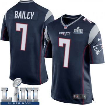 Youth Nike New England Patriots Jake Bailey Navy Blue Team Color Super Bowl LIII Jersey - Game