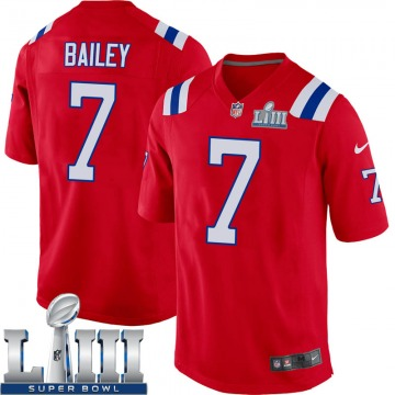 Youth Nike New England Patriots Jake Bailey Red Alternate Super Bowl LIII Jersey - Game