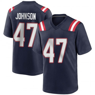 Youth Nike New England Patriots Jakob Johnson Navy Blue Team Color Jersey - Game