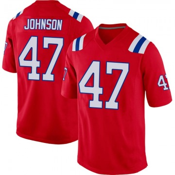 Youth Nike New England Patriots Jakob Johnson Red Alternate Jersey - Game
