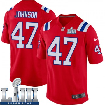 Youth Nike New England Patriots Jakob Johnson Red Alternate Super Bowl LIII Jersey - Game