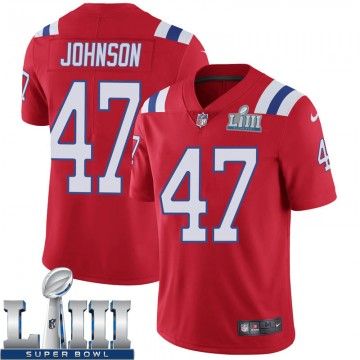 Youth Nike New England Patriots Jakob Johnson Red Super Bowl LIII Vapor Untouchable Alternate Jersey - Limited
