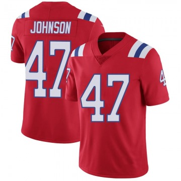 Youth Nike New England Patriots Jakob Johnson Red Vapor Untouchable Alternate Jersey - Limited