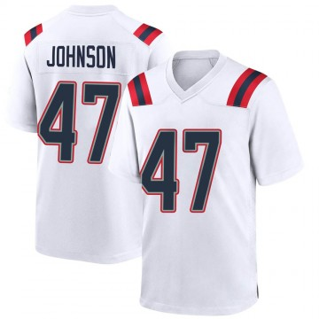 Youth Nike New England Patriots Jakob Johnson White Jersey - Game