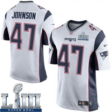 Youth Nike New England Patriots Jakob Johnson White Super Bowl LIII Jersey - Game