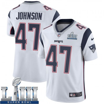 Youth Nike New England Patriots Jakob Johnson White Super Bowl LIII Vapor Untouchable Jersey - Limited