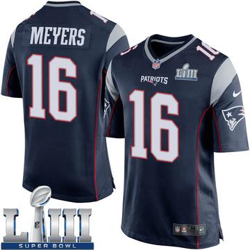 Youth Nike New England Patriots Jakobi Meyers Navy Blue Team Color Super Bowl LIII Jersey - Game