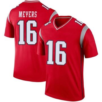 Youth Nike New England Patriots Jakobi Meyers Red Inverted Jersey - Legend