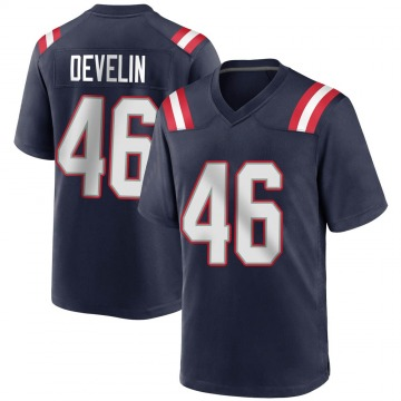 Youth Nike New England Patriots James Develin Navy Blue Team Color Jersey - Game