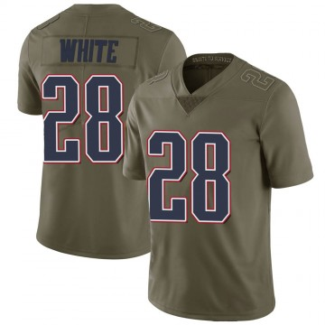 Youth Nike New England Patriots James White White Green 2017 Salute to Service Jersey - Limited