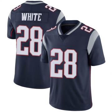 Youth Nike New England Patriots James White White Navy 100th Vapor Jersey - Limited