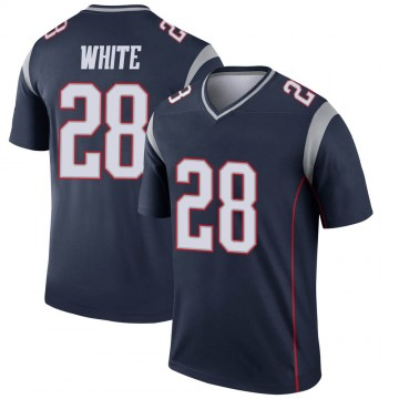 Youth Nike New England Patriots James White White Navy Jersey - Legend