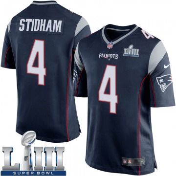Youth Nike New England Patriots Jarrett Stidham Navy Blue Team Color Super Bowl LIII Jersey - Game