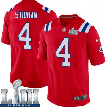 Youth Nike New England Patriots Jarrett Stidham Red Alternate Super Bowl LIII Jersey - Game