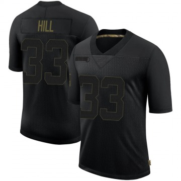 Youth Nike New England Patriots Jeremy Hill Black 2020 Salute To Service Jersey - Limited
