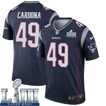 Youth Nike New England Patriots Joe Cardona Navy Super Bowl LIII Jersey - Legend