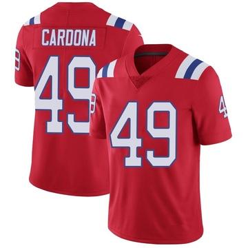 Youth Nike New England Patriots Joe Cardona Red Vapor Untouchable Alternate Jersey - Limited