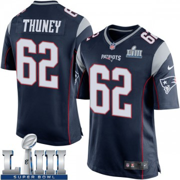 Youth Nike New England Patriots Joe Thuney Navy Blue Team Color Super Bowl LIII Jersey - Game