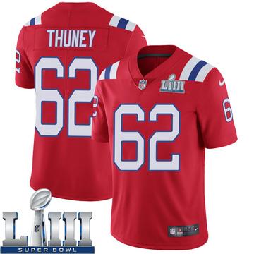 Youth Nike New England Patriots Joe Thuney Red Super Bowl LIII Vapor Untouchable Alternate Jersey - Limited