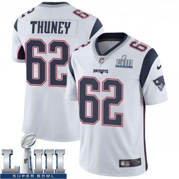 Youth Nike New England Patriots Joe Thuney White Super Bowl LIII Vapor Untouchable Jersey - Limited