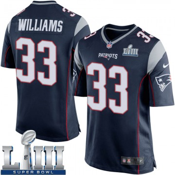 Youth Nike New England Patriots Joejuan Williams Navy Blue Team Color Super Bowl LIII Jersey - Game